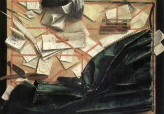 tableau en trompe-l'oeil avec lettres, documents, notes, livres et sablier