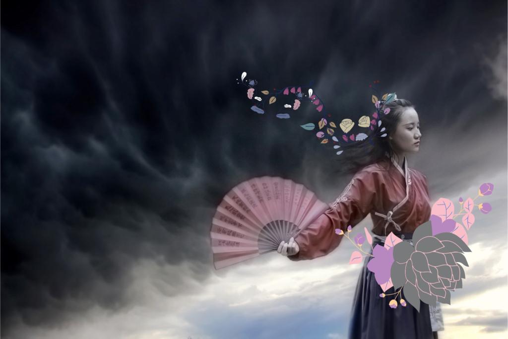 Jeune femme chinoise avec fleurs et éventail pour illustrer une histoire de reine dans le roman Fleur de neige de Lisa See