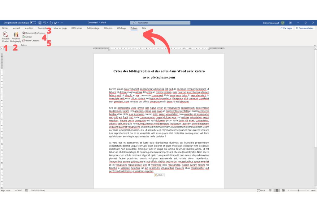 Fig. 2 : Créer des bibliographies et des notes dans Word avec Zotero