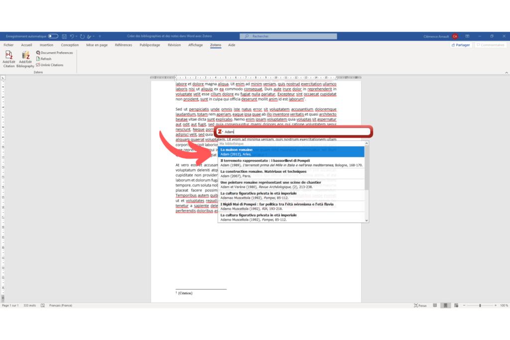 Fig. 9 : Sélectionner un document dans la boîte de dialogue