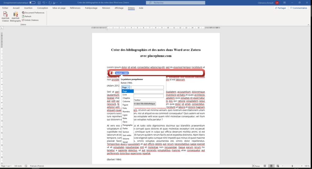 Fig. 11 : Modifier une citation et insérer un localisateur manuellement