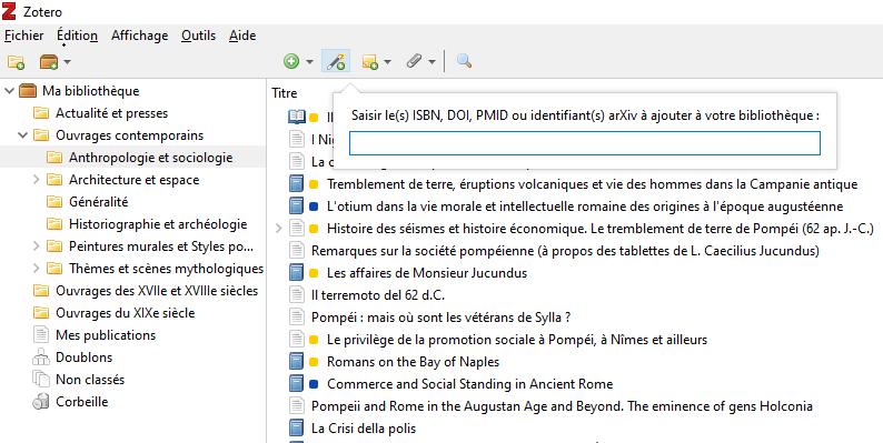 Fig. 7 : Ajouter un nouveau document avec son ISBN dans Zotero