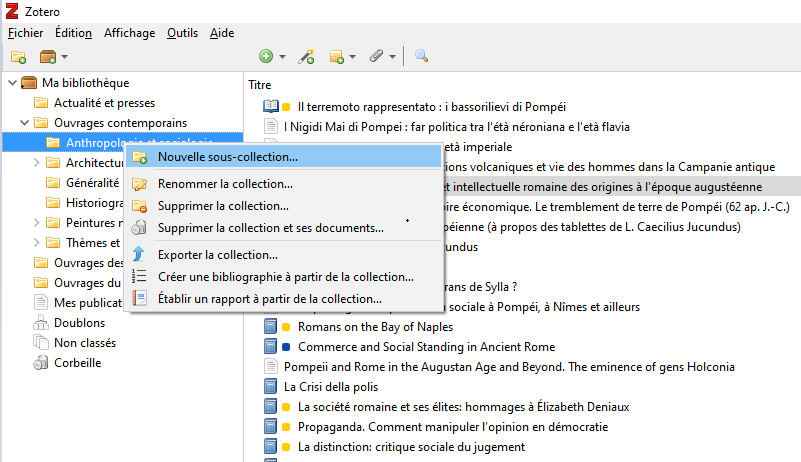 Fig. 5 : Ajouter une nouvelle sous-collection dans la bibliothèque Zotero